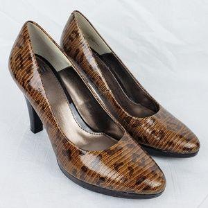 Sofft Snakeskin Leopard Print Leather Pumps